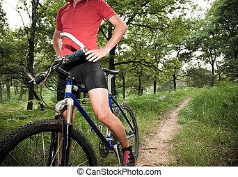 ciclista, madeiras, parada