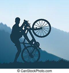 ciclista, montañas