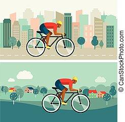 ciclista, montando, ligado, bicicleta, ligado, cidade, e, campo, vetorial, cartaz