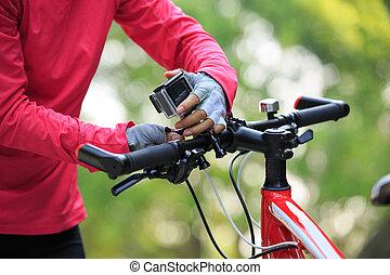 ciclista, montanha, câmera, ponha, bicicleta, ação
