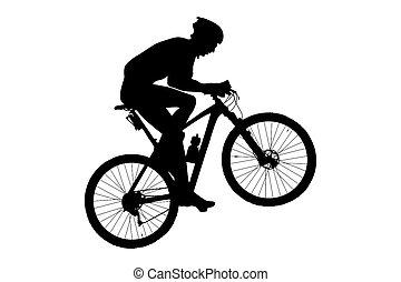 ciclista, motociclista de montaña, hombre