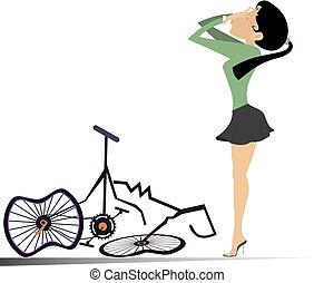 ciclista, mujer, aislado, ilustración, roto, bicicleta