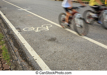 ciclista, parque bicicleta, sinal, ícone, ou, movimento