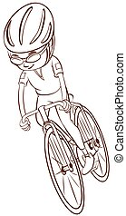 ciclista, planície, esboço