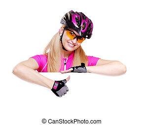 ciclista, ragazza, esposizione, pollici, sopra, il, vuoto, sfondo bianco