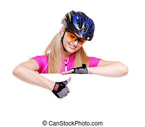 ciclista, ragazza, indicare, pollici, sopra, il, vuoto, closeup, sfondo bianco