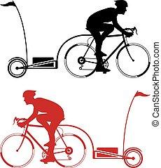 ciclista, remolque