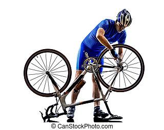 ciclista, reparar, bicicleta, silueta