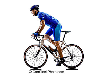 ciclista, silhouette, bicicletta, strada, ciclismo