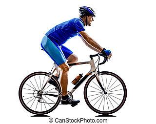 ciclista, silueta, bicicleta, camino, ciclismo