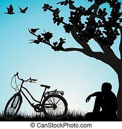 ciclista, sotto, rilassante, albero