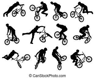 ciclista, stunt, bmx, silhuetas