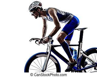 ciclista, triatlón, el montar en bicicleta, atleta, hierro, hombre