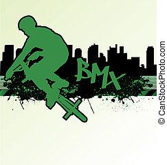 ciclista, urbano, grunge, plano de fondo, vector, plantilla...