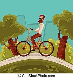 ciclista, urbano, paseos, hipster, ciudad