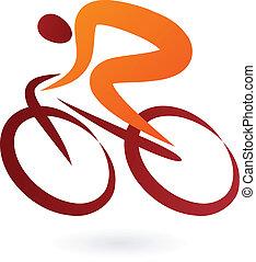 ciclista, vector, -, ilustración, icono