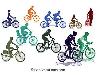 ciclistas, e, bicycles
