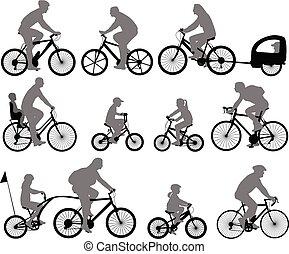 ciclistas, silhuetas, cobrança