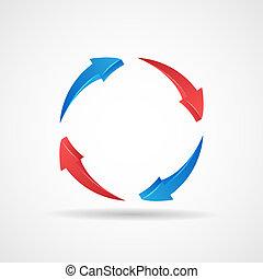 ciclo, actualización, símbolo, 3d, resumen, flechas, icono, diseño, plantilla, vector, ilustración