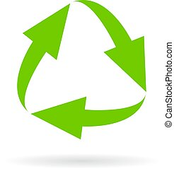 ciclo, verde, icona