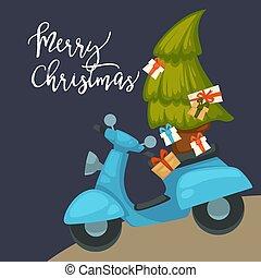 ciclomotor, postal, árbol, regalos de navidad, proceso de llevar, navidades alegra