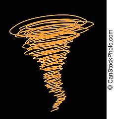 ciclone, vetorial, rabisco