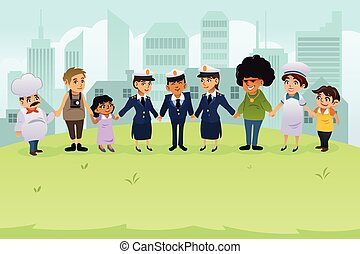 cidadãos, polícia, segurar passa