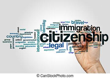 cidadania, palavra, nuvem