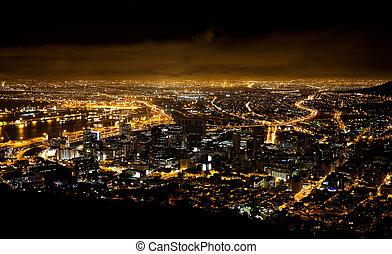 cidade, áfrica, cena, noturna, capa, sul