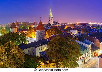 cidade, aéreo, estónia, tallinn, antigas, noturna, vista