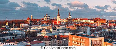 cidade, aéreo, estónia, tallinn, antigas, pôr do sol, vista