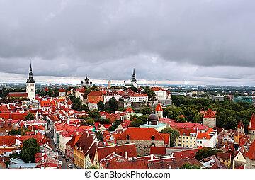 cidade, aéreo, estónia, tallinn, antigas, vista
