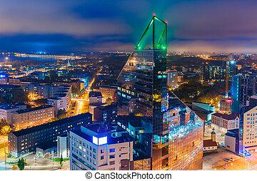 cidade, aéreo, estónia, tallinn, noturna, vista