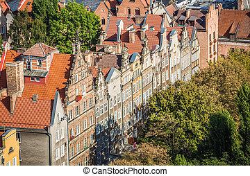 cidade, aéreo, gdansk, polônia, antigas, torre, catedral, vista