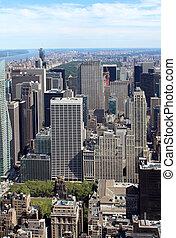 cidade, aéreo, panorâmico,  York, Novo, vista