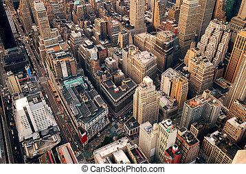 cidade, aéreo, rua, york, novo, vista
