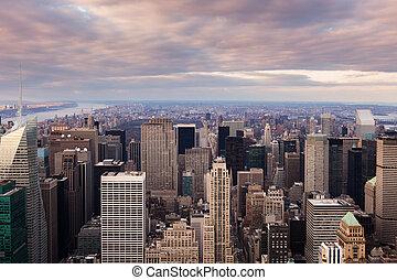 cidade, aéreo,  -,  Skyline, pôr do sol,  York, Novo,  Manhattan, vista