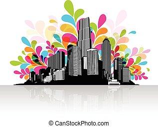 cidade, abstratos, céu, scape., ilustração