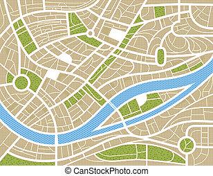 cidade, abstratos, ilustração, mapa