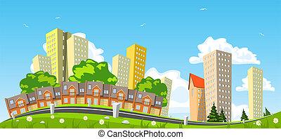 cidade, abstratos, ilustração, vetorial, fila, edifício.