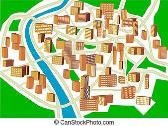 cidade, abstratos, plano