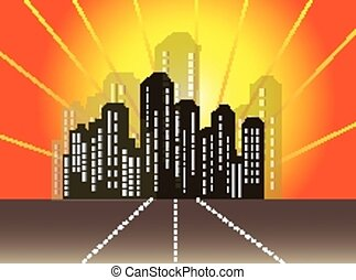cidade, abstratos, skyline