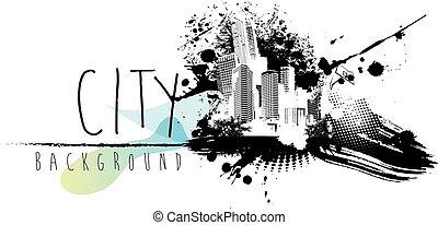 cidade, abstratos, text., ilustração, lugar, scape, seu