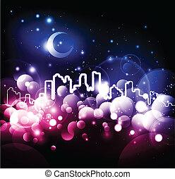 cidade, abstratos, vetorial, fundo, noturna