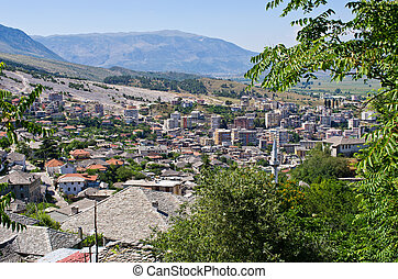 cidade,  Albânia,  -, telhados,  gjirokaster, prata