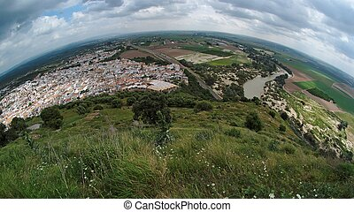 cidade,  almodovar,  Rio,  del, Espanhol,  fisheye, vista