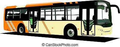 cidade, amarela, vetorial, bus., ilustração, coach.