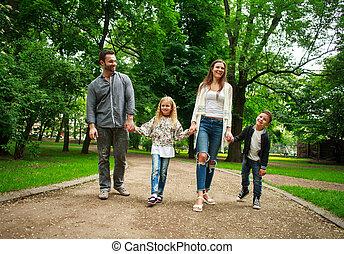 cidade, andar, família, parque, verde, segurar passa, feliz