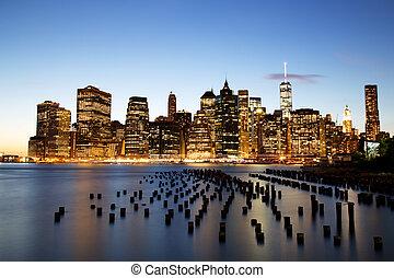 cidade, anoitecer, centro cidade,  York, Novo,  Manhattan
