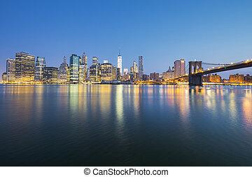 cidade, anoitecer,  midtown,  York, Novo,  Manhattan, vista